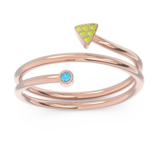 Modern Wrap Bezel Pave Viparyaya Swiss Blue Topaz Ring with Peridot in 14K Rose Gold