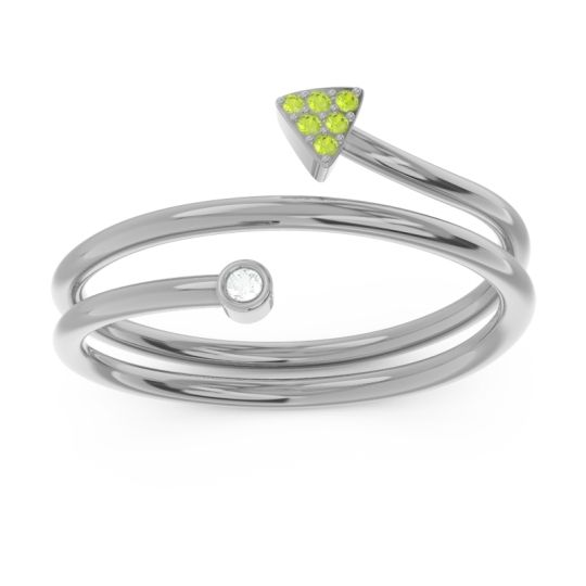 Modern Wrap Bezel Pave Viparyaya Diamond Ring with Peridot in Platinum
