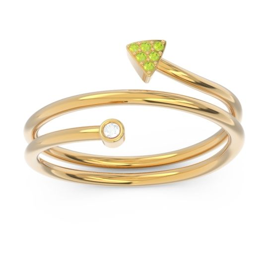 Modern Wrap Bezel Pave Viparyaya Diamond Ring with Peridot in 14k Yellow Gold
