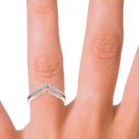 Modern Double Line V-Shape Pave Mukuta Aquamarine Ring in 14K Rose Gold