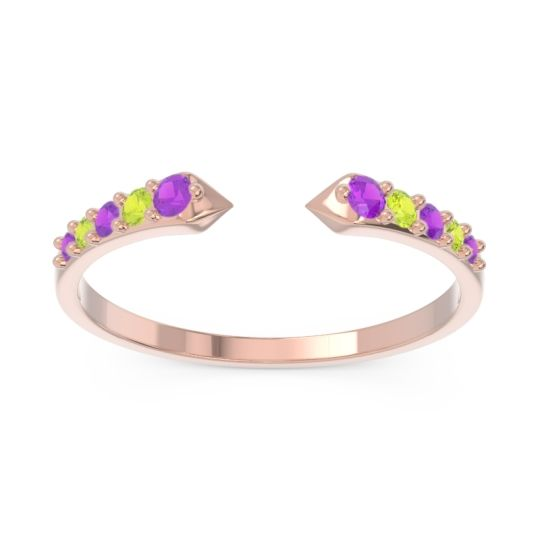 Petite Modern Pave Sandasta Amethyst Ring with Peridot in 14K Rose Gold