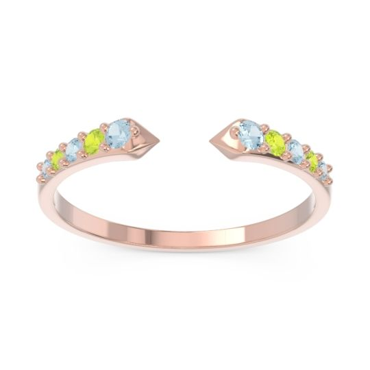 Petite Modern Pave Sandasta Aquamarine Ring with Peridot in 14K Rose Gold