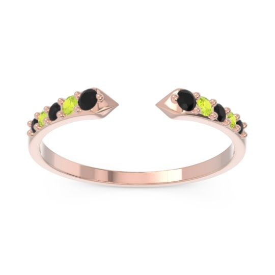 Petite Modern Pave Sandasta Black Onyx Ring with Peridot in 14K Rose Gold