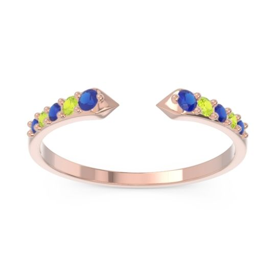 Petite Modern Pave Sandasta Blue Sapphire Ring with Peridot in 14K Rose Gold