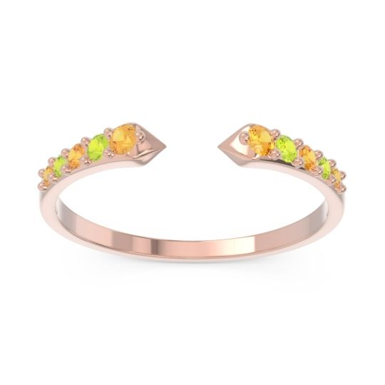 Petite Modern Pave Sandasta Citrine Ring with Peridot in 14K Rose Gold