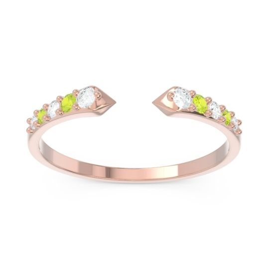 Petite Modern Pave Sandasta Diamond Ring with Peridot in 14K Rose Gold