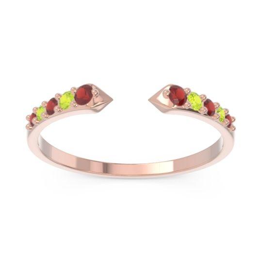 Petite Modern Pave Sandasta Garnet Ring with Peridot in 14K Rose Gold