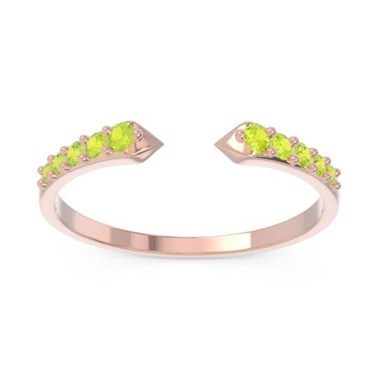 Petite Modern Pave Sandasta Peridot Ring in 14K Rose Gold