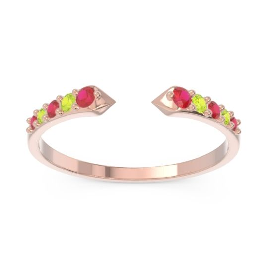 Petite Modern Pave Sandasta Ruby Ring with Peridot in 14K Rose Gold