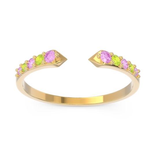 Petite Modern Pave Sandasta Pink Tourmaline Ring with Peridot in 14k Yellow Gold