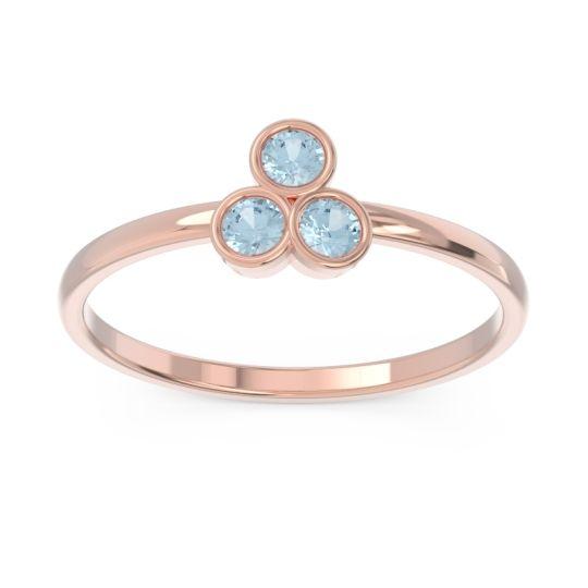 Petite Modern Bezel Zikharin Aquamarine Ring in 14K Rose Gold
