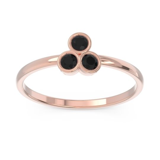 Petite Modern Bezel Zikharin Black Onyx Ring in 14K Rose Gold