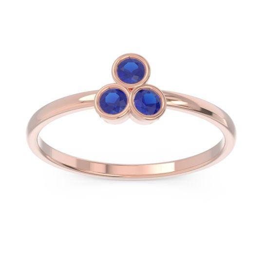 Petite Modern Bezel Zikharin Blue Sapphire Ring in 14K Rose Gold