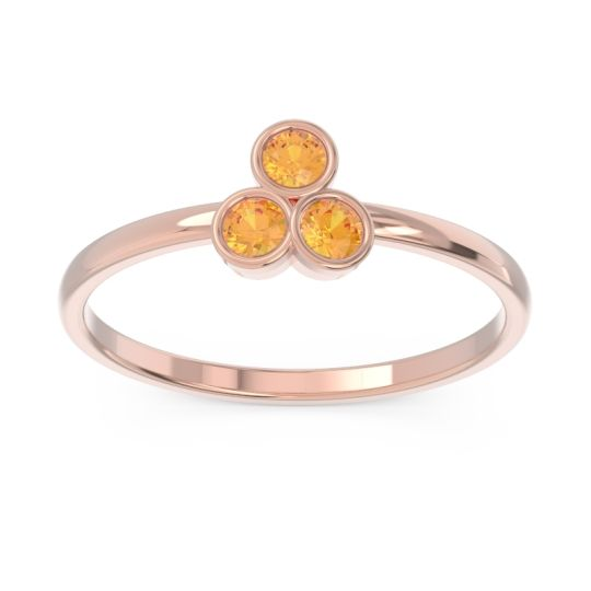 Petite Modern Bezel Zikharin Citrine Ring in 14K Rose Gold
