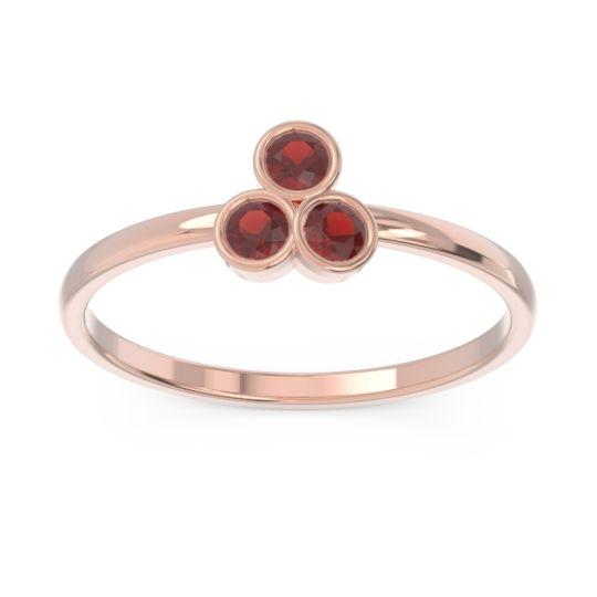 Petite Modern Bezel Zikharin Garnet Ring in 14K Rose Gold