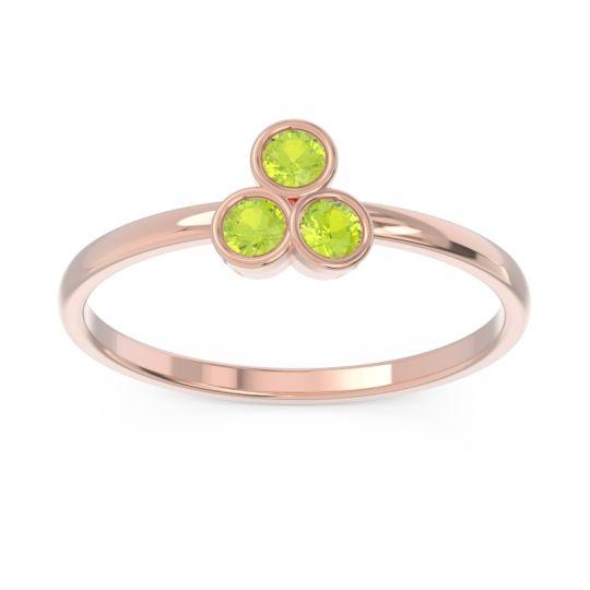 Petite Modern Bezel Zikharin Peridot Ring in 14K Rose Gold