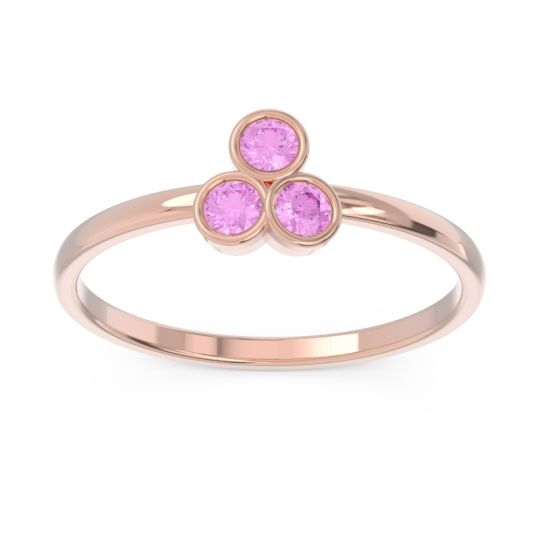 Petite Modern Bezel Zikharin Pink Tourmaline Ring in 14K Rose Gold