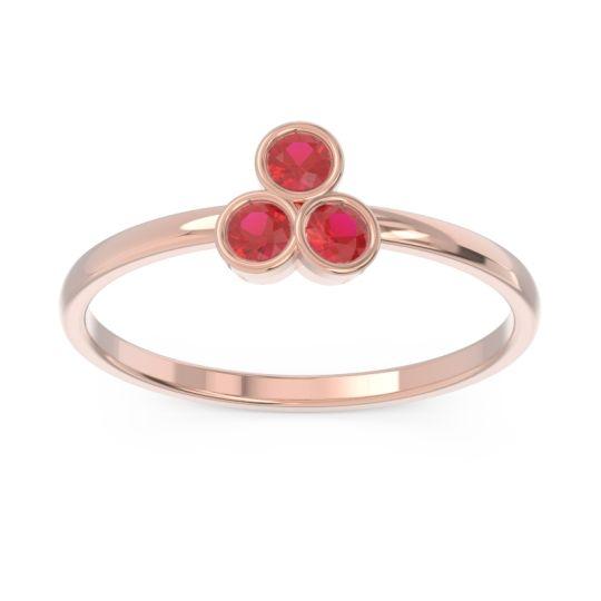 Petite Modern Bezel Zikharin Ruby Ring in 14K Rose Gold