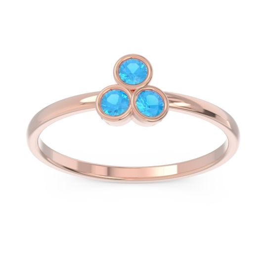 Petite Modern Bezel Zikharin Swiss Blue Topaz Ring in 14K Rose Gold