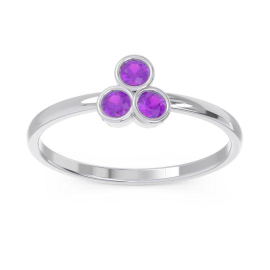 Petite Modern Bezel Zikharin Amethyst Ring in Platinum