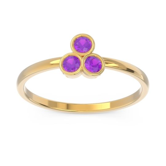 Petite Modern Bezel Zikharin Amethyst Ring in 14k Yellow Gold