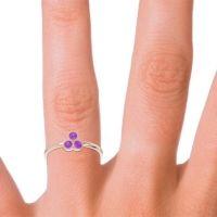 Petite Modern Bezel Zikharin Amethyst Ring in 14K Rose Gold