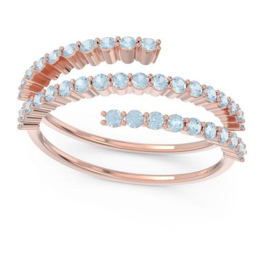 Modern Wrap Pave Upota Aquamarine Ring in 14K Rose Gold
