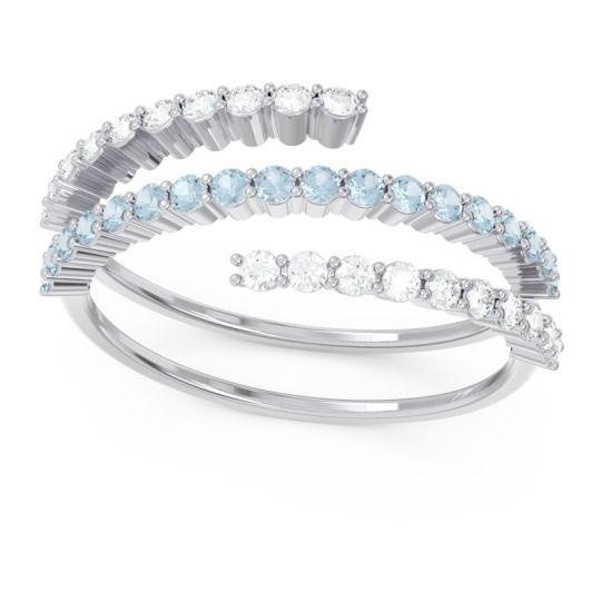 Modern Wrap Pave Upota Aquamarine Ring with Diamond in 14k White Gold