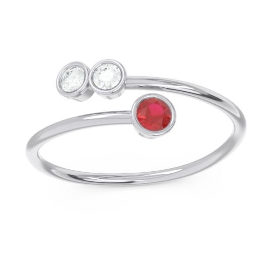 Petite Modern Wrap Bezel Varga Ruby Ring with Diamond in 14k White Gold