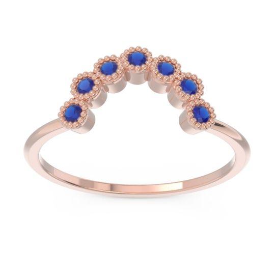 Petite Modern Curved Bezel Mandahasa Blue Sapphire Ring in 14K Rose Gold