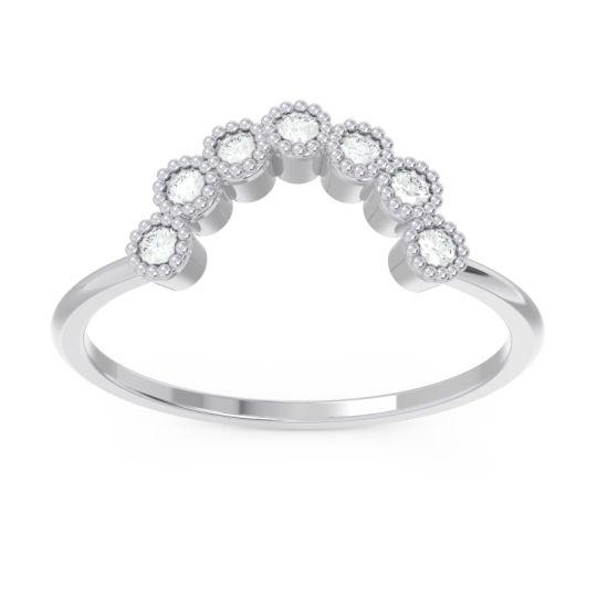 Petite Modern Curved Bezel Mandahasa Diamond Ring in 14k White Gold
