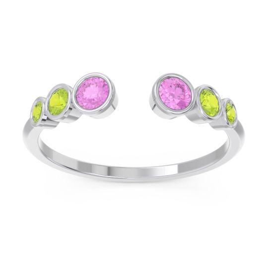 Petite Modern Open Bezel Aruha Pink Tourmaline Ring with Peridot in 18k White Gold