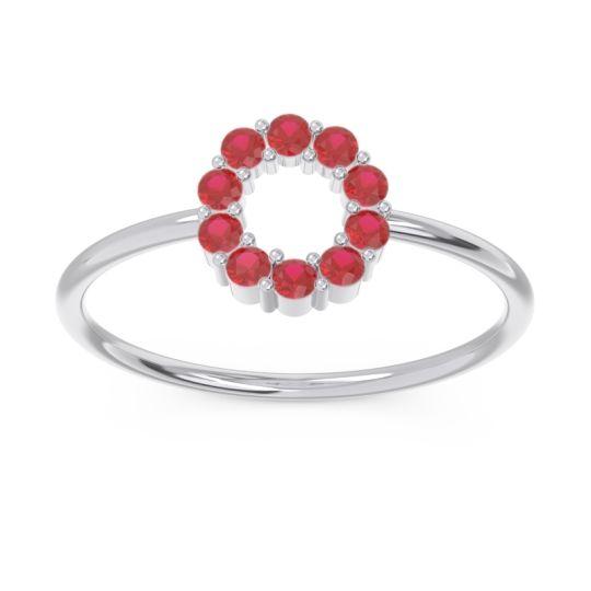 Petite Modern Pave Asya Ruby Ring in 14k White Gold