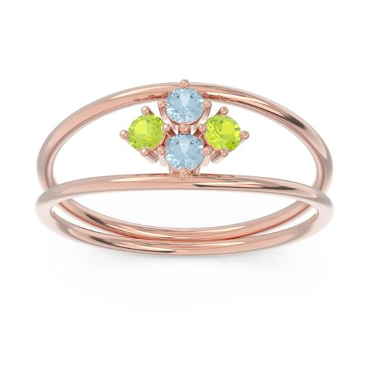 Petite Modern Double Line Pave Unmajjati Peridot Ring with Aquamarine in 14K Rose Gold
