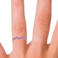 Petite Modern Pave Luthati Amethyst Ring in 14k Yellow Gold