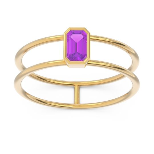 Petite Modern Double Line Bezel Pali Amethyst Ring in 14k Yellow Gold