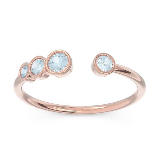 Petite Modern Open Bezel Vihvarita Aquamarine Ring in 14K Rose Gold