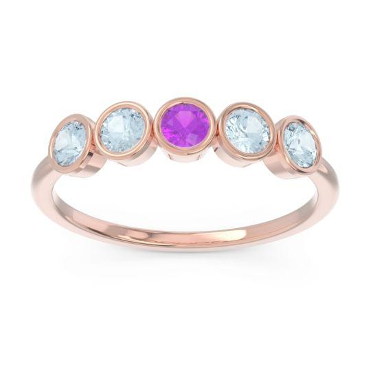 Petite Modern Bezel Saciva Amethyst Ring with Aquamarine in 14K Rose Gold