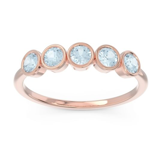 Petite Modern Bezel Saciva Aquamarine Ring in 14K Rose Gold