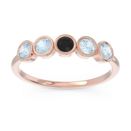 Petite Modern Bezel Saciva Black Onyx Ring with Aquamarine in 14K Rose Gold