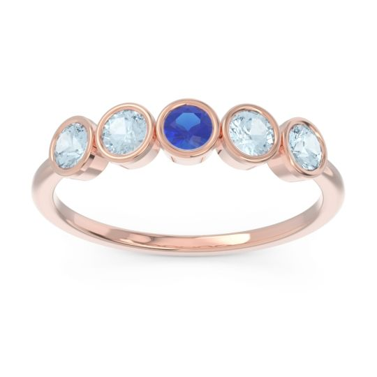 Petite Modern Bezel Saciva Blue Sapphire Ring with Aquamarine in 14K Rose Gold