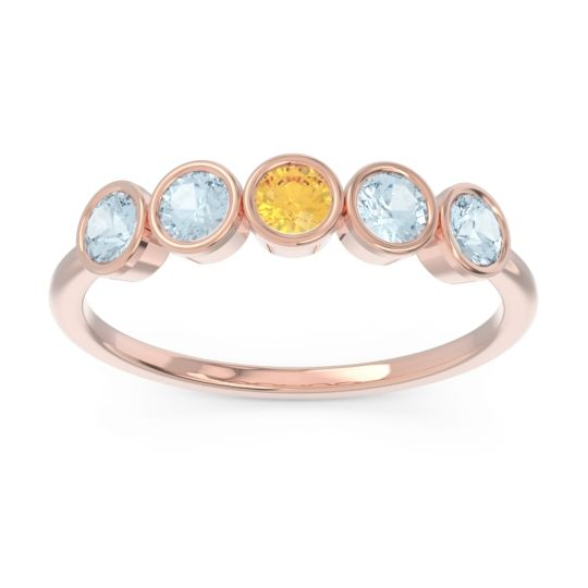 Petite Modern Bezel Saciva Citrine Ring with Aquamarine in 14K Rose Gold