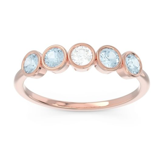 Petite Modern Bezel Saciva Diamond Ring with Aquamarine in 14K Rose Gold