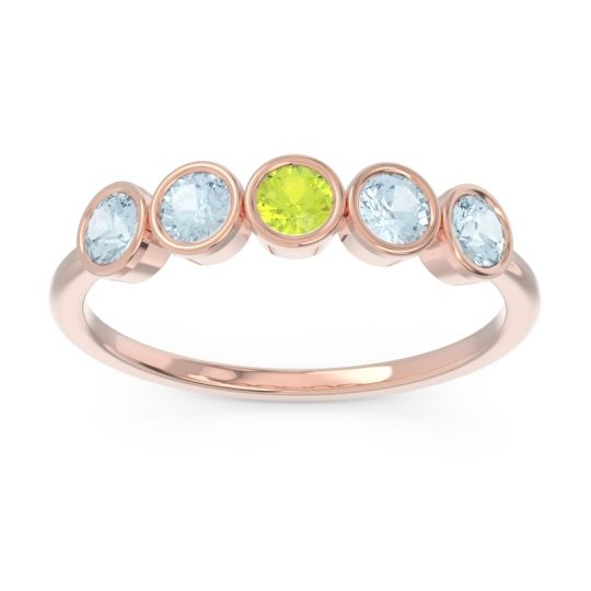 Petite Modern Bezel Saciva Peridot Ring with Aquamarine in 14K Rose Gold