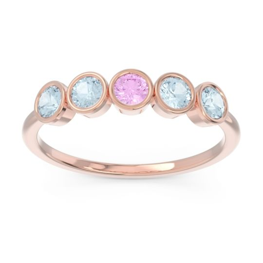 Petite Modern Bezel Saciva Pink Tourmaline Ring with Aquamarine in 14K Rose Gold
