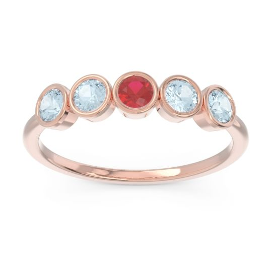 Petite Modern Bezel Saciva Ruby Ring with Aquamarine in 14K Rose Gold