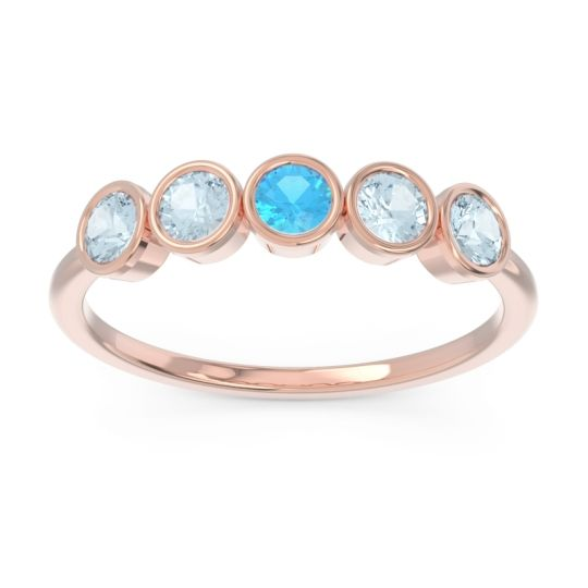 Petite Modern Bezel Saciva Swiss Blue Topaz Ring with Aquamarine in 14K Rose Gold
