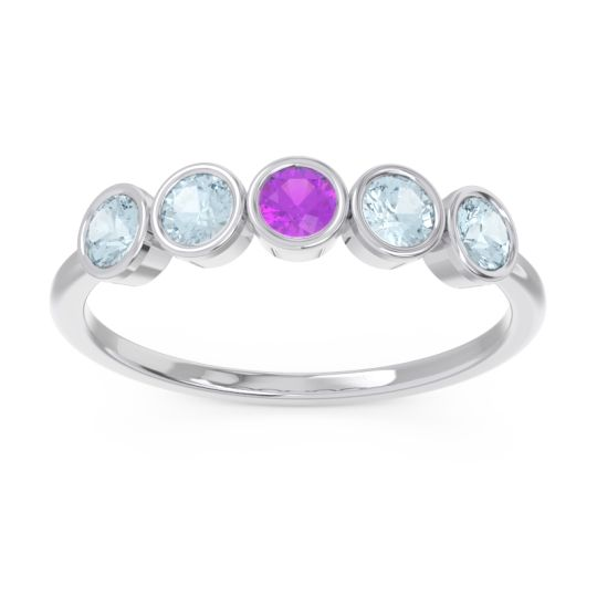 Petite Modern Bezel Saciva Amethyst Ring with Aquamarine in 18k White Gold