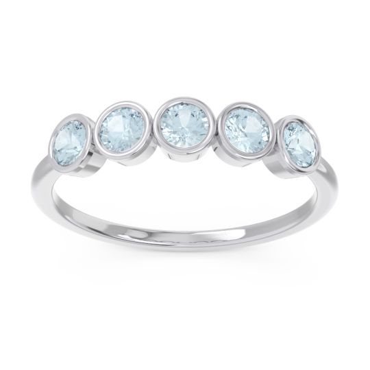 Petite Modern Bezel Saciva Aquamarine Ring in 18k White Gold