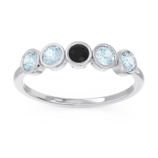 Petite Modern Bezel Saciva Black Onyx Ring with Aquamarine in 18k White Gold